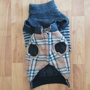 Small Dog Burberryesque Vest with Sweater